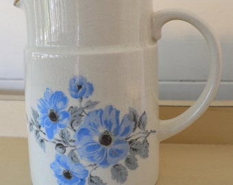 arthur wood pale blue hand painted floral jug