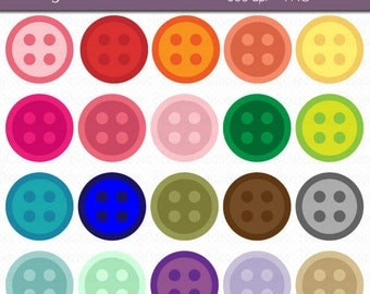 Colorful Buttons Digital Art Set Clipart INSTANT DOWNLOAD Button Clipart Sewing Clipart Craft Clipart