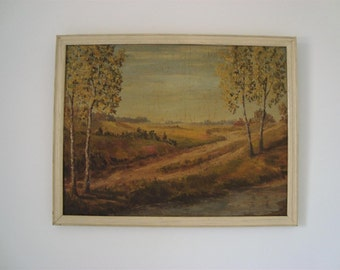 Vintage oil painting of landscape with lovely golden hues
