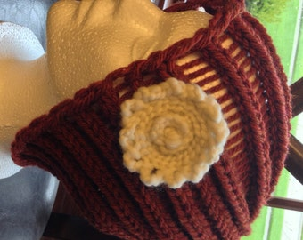 Rust Hat with White Flower