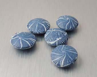Polymer Clay Lentil Beads - Dark Blue and White Swirl