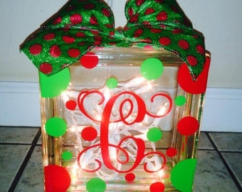 Christmas Glass Block w/lights