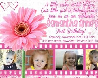 Pink Flowers Film Strip Photo Birthday Invitation
