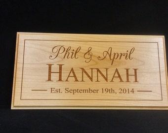 Lasered Established Sign/Family Sign- Wedding Gift