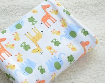 Cute baby knit fabric deer duck frog and elephant knit fabric boat fabric kid's fabric blanket fabric bedding fabric baby CY-06