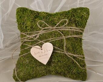 Moss Rustic Wedding Pillow, Moss Ring Bearer Pillow, Moss Ring Pillow, Moss Pillow, shabby chic Ring berarer,