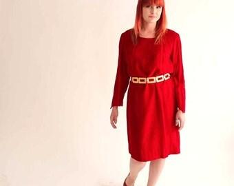 SALE vintage 1960's lipstick red velvet dress, large xl - womens shift dress - romantic shift dress velvet 60's clothing