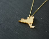 New York Necklace - Mirrored Gold - New York State Necklace NY Necklace New York Jewelry Acrylic
