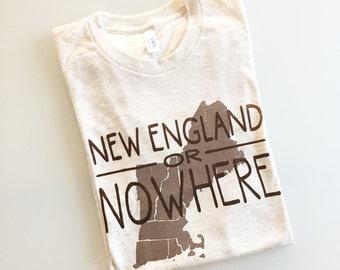 New England or Nowhere - northeast region tee - silkscreen t-shirt - oatmeal/brown XL