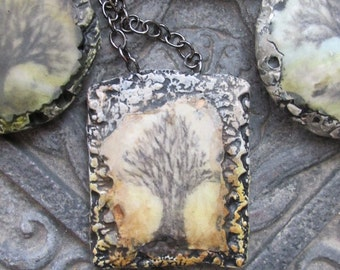 Art Pendant with Tree in Pale Grey and Amber