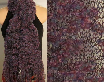 Hand Knit Wool Cotton Scarf lacy Winter Berries Pink Purple Red Blue Black