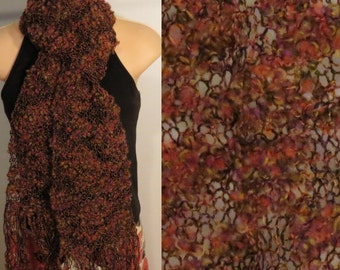 Hand Knit Wool Cotton Scarf lacy Blazing Sky Purple Red Yellow Black