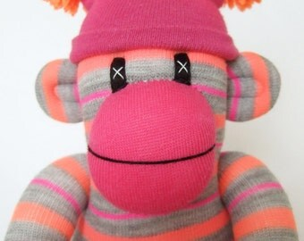 Fab orange and pink neon Striped Sock Monkey (made to order)