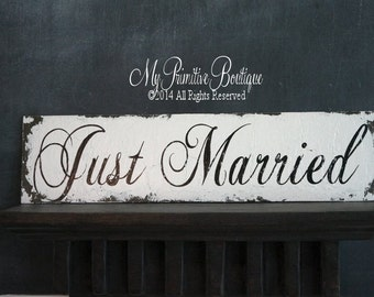 JUST MARRIED SIGN, Wedding Sign, Shabby Chic Wedding, Vintage Wedding Decor