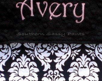 Personalized Toddler Girl Blanket - Minky and Damask Baby Blanket - 36x40
