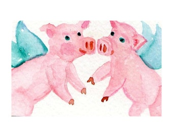 ACEO Flying Pigs Painting Watercolor - PIG art, Original ACEO, when pigs fly, whimsical miniature art card, pigs with wings