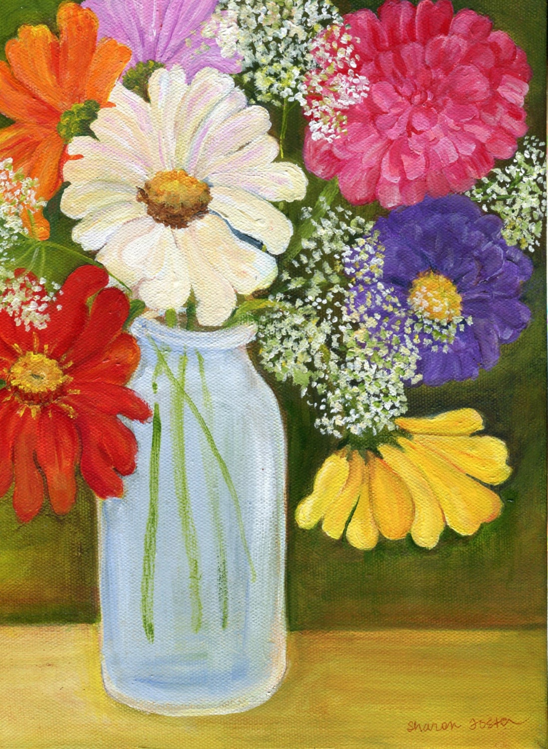 Zinnias acrylic painting on canvas zinnias queen anne 39 s for Floral acrylic paintings