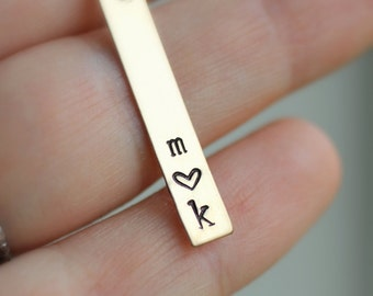Mom Necklace, Gold Bar Necklace, Two Initial Necklace, Heart, Vertical Bar, Personalized Gift, Two Children, Two Letters, Couples Necklace