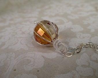 Wirewrapped Swarovski Crystal Copper Shew Pendant Necklace