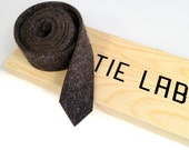 Laser cut wool felt necktie. Industrial felt narrow tie. FREE wood gift box included. Choose light gray or charcoal gray felt.