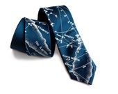 Star chart necktie. Milky Way constellation tie. Men's celestial tie. Ice blue print on peacock blue & more. Pocket squares available too!
