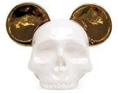 Ceramic Skull Gold Mouse Ear - Made to Order