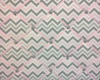Zoom Zoom Pink Gray Chevron French Ribbon Memo Picture Board