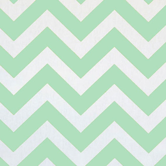 Premier Prints Zig Zag Mint Green White Twill Chevron Stripe