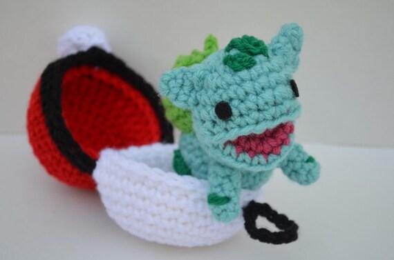 Close Amigurumi Ball : Chibi Bulbasaur Plush Amigurumi Doll Crochet