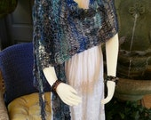 Mermaid Waters Shawl - Handspun, Hand Knit Loose-Net-Stitch Lacy Boho Shawl Shades of Blue & Turquoise, with Shell Adornments