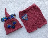 Newborn Boy Outfit Knit BaBY PHoTO PRoP Owl Hat Pant Set RTS Baby Bird Beanie Heart Short Pant CoSTuME Coming Home ReADY to SHiP