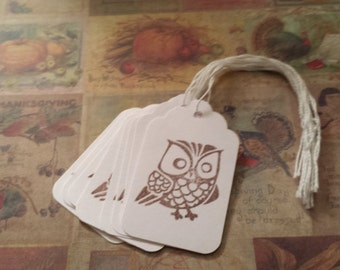 Tags Brown Owl - Hand stamped with Envelope Option Fall Thanksgiving