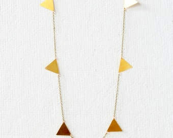 Golden Triangle Necklace, geometric necklace, gold charm necklace, gift for wife, holiday gift ideas
