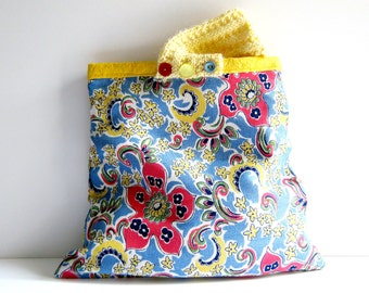 Floral knitted bag vintage paisley fabric purse yellow knit handle yellow pink blue 1950s print handbag memake handmade