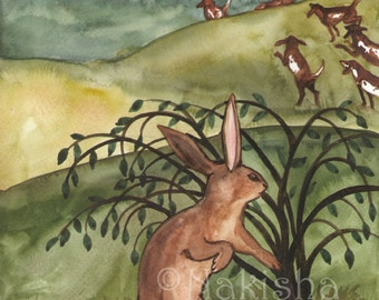 Original Art - The Seven of Rabbits - Watercolor Rabbit Painting -The Badgers Forest Tarot