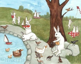 A Day at the Park- Fine Art Rabbit Print