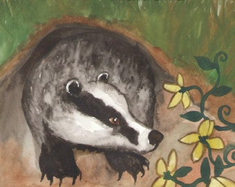 Original Art - The King of Badgers- Watercolor Badger Painting -The Badgers Forest Tarot