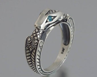 OUROBOROS silver mens Snake ring with London Blue Topaz eyes