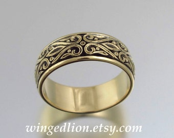 size 10.5 ready to ship - The PRINCE CHARMING 14K yellow gold mens wedding band