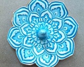 Turquoise Lotus Ring Holder Bowl  gold edged