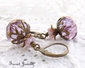 Purple Flower Earrings, Czech Glass Flower, Light Purple Shimmer Earrings, Antique Brass, Floral, Spring, Summer Botanical, Woodland