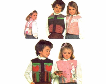 1980s Childs Reversible String Quilted Vest Simplicity 5634 Vintage Sewing Pattern Boys Girls Vest Pattern Size 4 Uncut