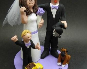 Blended Family Wedding Cake Topper,  Wedding Cake Topper with Kids, 2nd Marriage CakeTopper, Wedding CakeTopper with Children,family topper