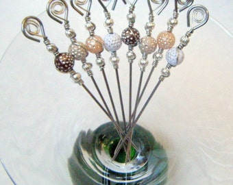 Cocktail Appetizer Picks Stainless Steel Set of 8 Beads with Silver Polka Dots