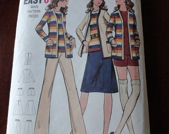 Vintage 70s Butterick 6301 Misses jacket Top Skirt Pants and Shorts Pattern UNCUT size 14 B36