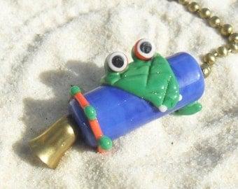Lampwork Florida Gators Fan Pull, Blue Orange Green,  Brass Ball Chain, Artisan Handmade SRA Glassymom