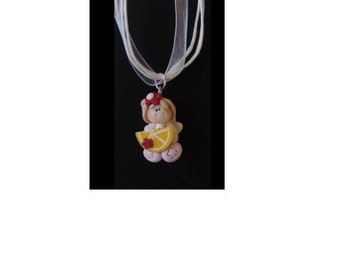 Your Choice Sitting Fairy Necklace, Polymer Clay, Choose Fairy Color, Choose Ribbon Color, Fairy Princess Necklace
