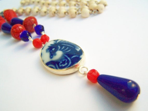 Year of the Horse Necklace, Chinese New Year, Pottery Shard Necklace, Beaded Necklace with Horse Pendant, Red, White and Blue Necklace, OOAK