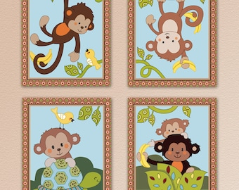 Set of Four Happy Monkey prints, nursery wall art. Made to Match curly tails crib bedding.