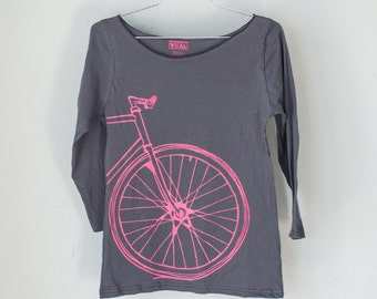 FIXIE TEE MEDIUM - Women's Bicycle Boat Neck Tshirt M